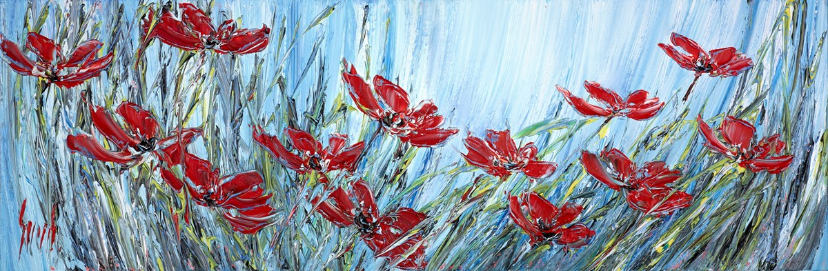 Poppy Field II by carl scanes -  sized 35x12 inches. Available from Whitewall Galleries